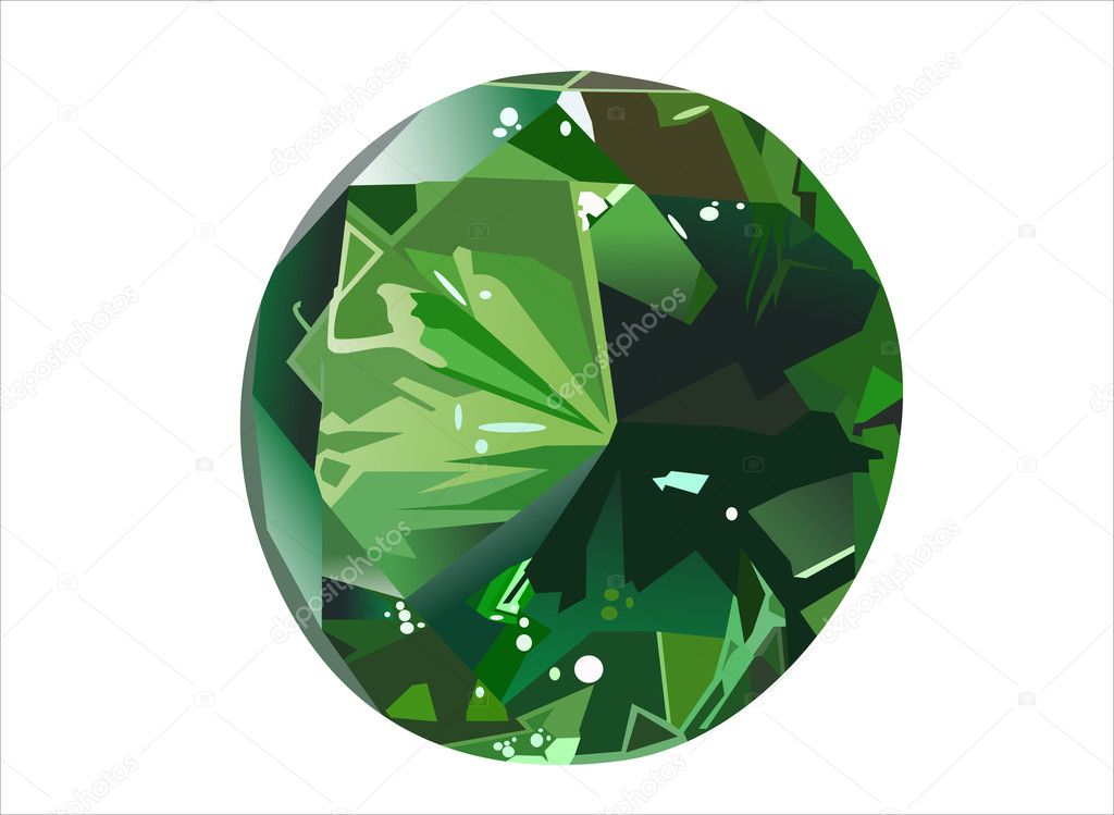 Front view emerald isolated on white — Stock Vector #8803622