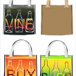 Set of reusable shopping bags — Stock Vector
