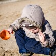 Boy digs in sand — Stock Photo