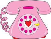 Heart Telephone — Stock Vector