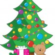 Christmas Teddy Bear - Stock Vector