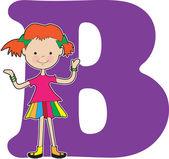 Alfabeto garota b — Vetor de Stock
