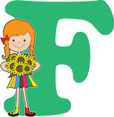 Alphabet Girl F — Stock Vector
