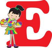 字母表的女孩 e — 图库矢量图片