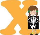 Alphabet Girl X — Stock Vector