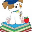 Cute Puppy Graduate — Stock Vector