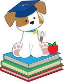 Cute Puppy Graduate — Stock Vector