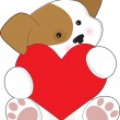 Cute Puppy Valentine — Stock Vector