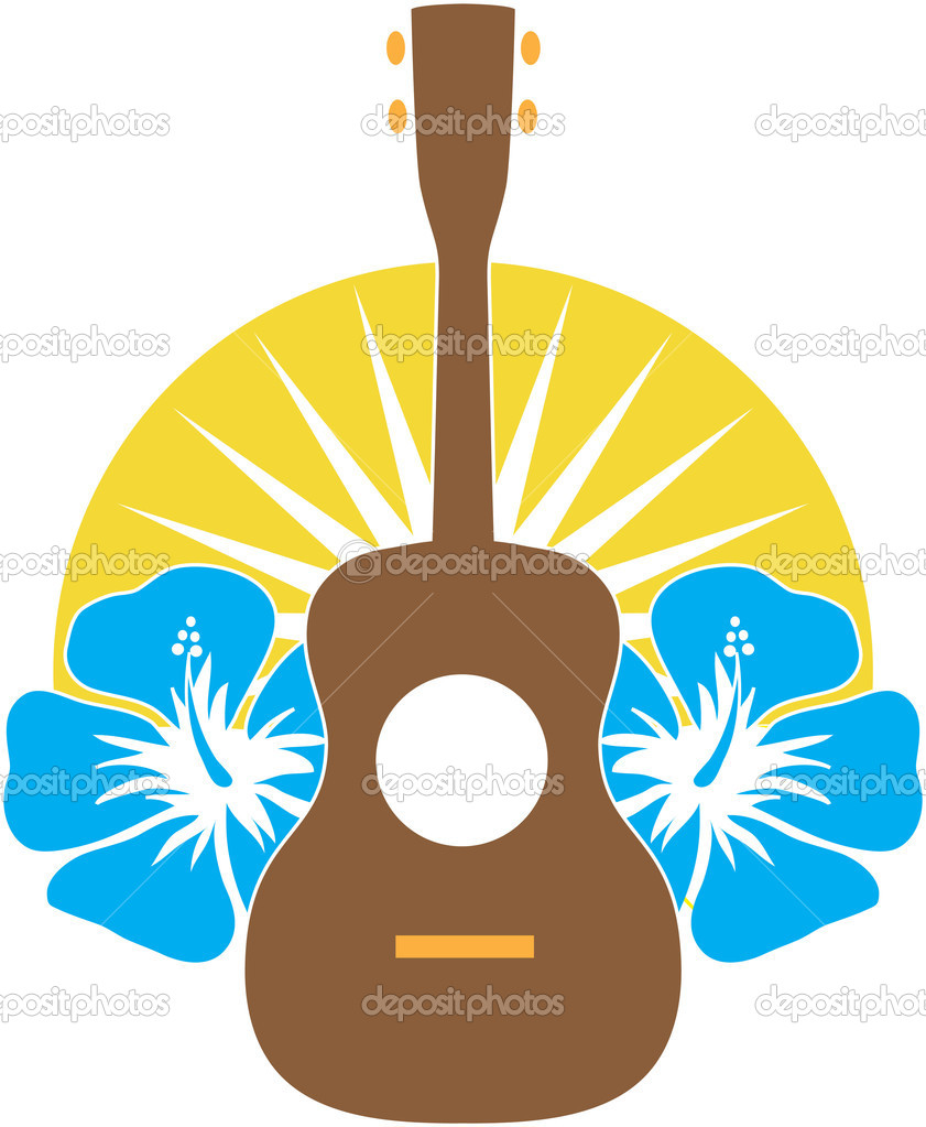 A stylized ukulele, sitting on a background of Hibiscus flowers over a sunburst semi-circle. — Stock Vector #8500381