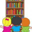 Bookcase Kids — Stock Vector