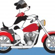 Dog Motorcycle — Stock vektor