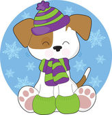 Cute Puppy Winter — Stock Vector