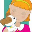 Little Girl and Puppy — Stock Vector #8890489