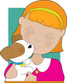 Little Girl and Puppy — Stock Vector
