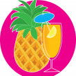 Pineapple Cocktail — Stock Vector