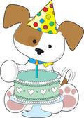 Puppy Birthday Cake — Stock Vector