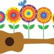 Ukulele Flowers — Stock Vector