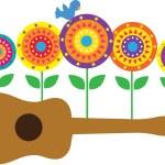 ukulele blommor — Stockvektor