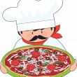 Chef and Pizza — Stock Vector