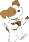 Cute Puppy Ukulele — Stock Vector