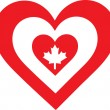 Canada Heart — Stock Vector