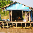 Floating House on the Tonle Sap lake, near Angkor and Siem reap, Cambodia - Stock Photo
