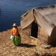 Uros - Floating island on titcaca lake in Peru - Stok fotoğraf
