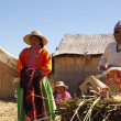 Uros - Floating island on titcaca lake in Peru - Stock Photo