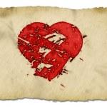 Grunge heart on paper — Stock Photo