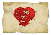 Grunge heart on paper — Stockfoto