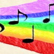 Music notes on rainbow — Stock Photo