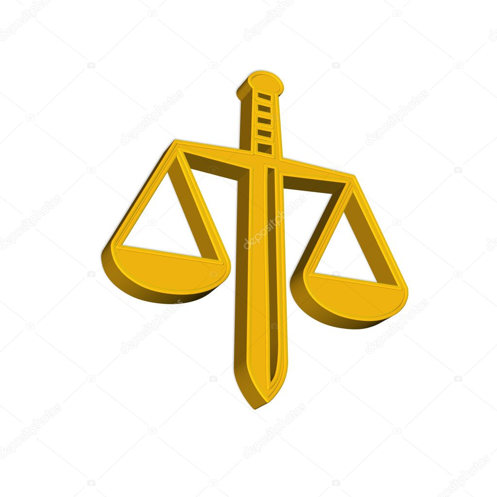 Icon, symbol of scales of justice on white — Stock Photo #8355600