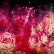 Roses and splashing paint — Stock Photo