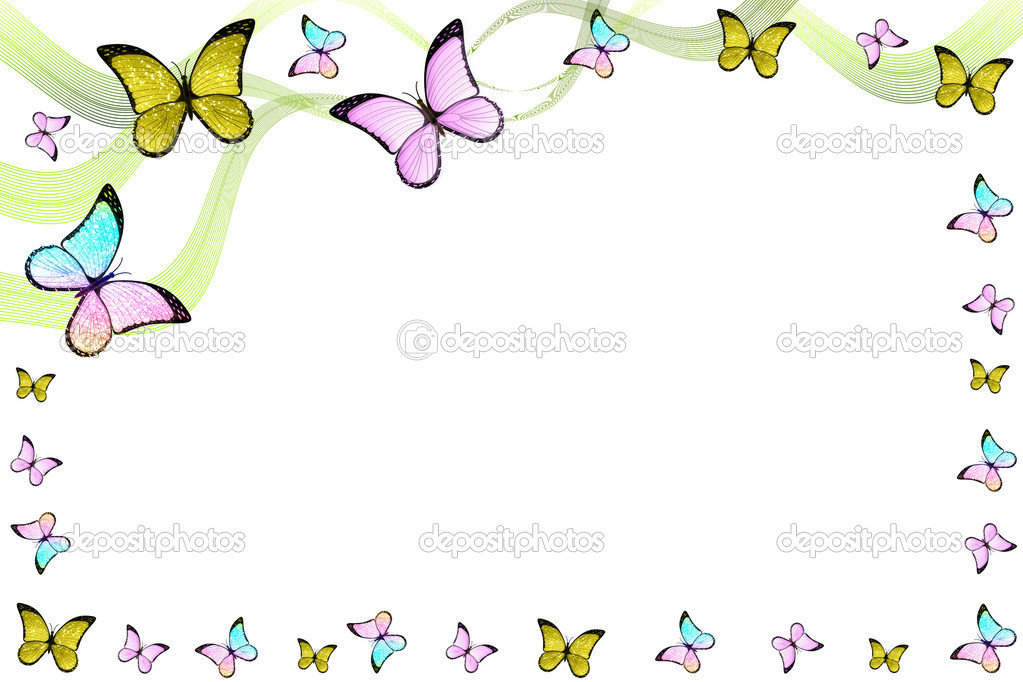 Creative colorful abstract frame with bautterflies and lines — Stock Photo #8746887