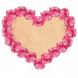 Heart shaped rose frame - Stock Photo