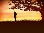 Silhouette d'une jeune fille avec un papillon et un arbre — Photo