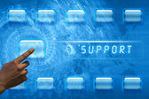 Finger pushing support button — Stock Photo