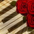 Music background with roses — Stok fotoğraf