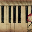 Music background with rose — Stockfoto