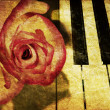 Music background with rose — Stock Photo #9839280
