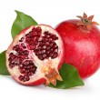 Pomegranate with leaves — Stock Photo