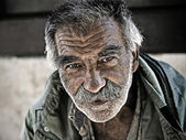 An unidentified homeless man — Stock Photo