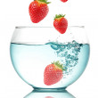 Stock Photo: Falling strawberries