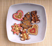 Christmas cookies on a plate - top view — Stock Photo