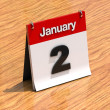 Calendar on desk - January 2nd — Stockfoto