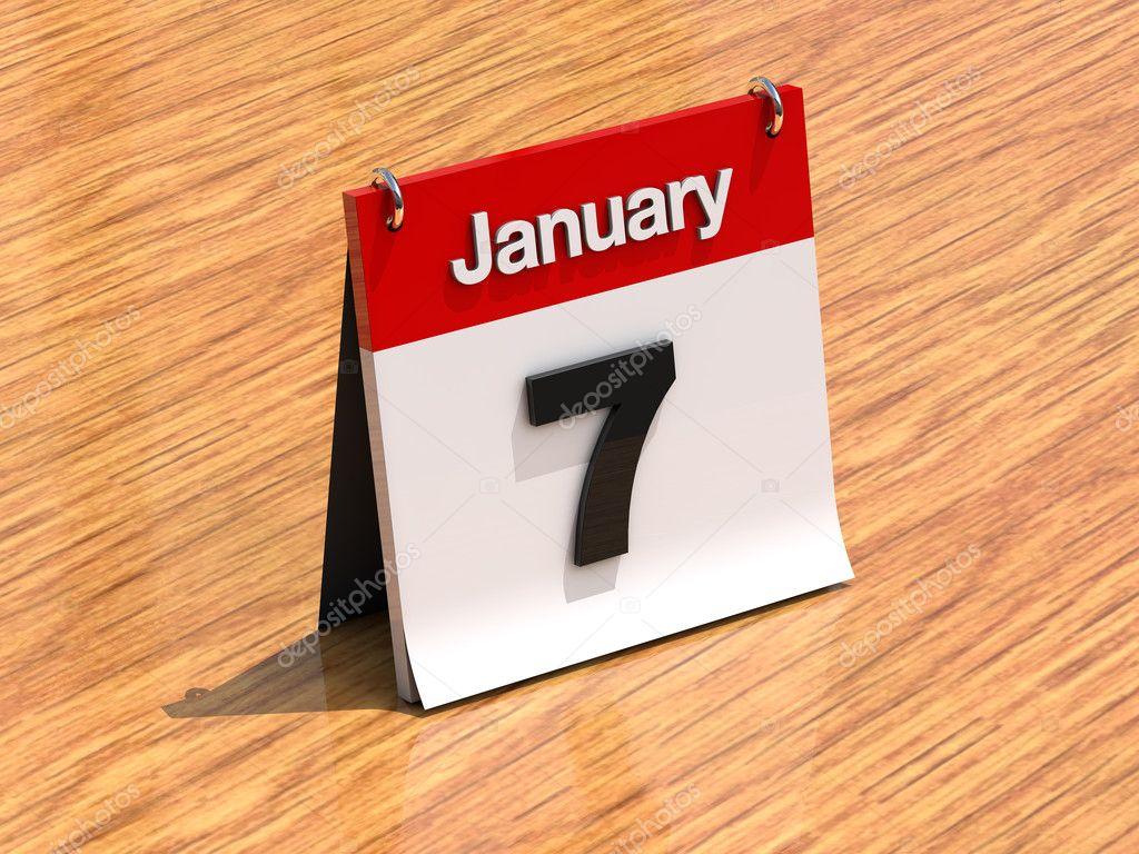 calendrier sur le bureau 7 janvier photographie kasiastock1 169 8599035