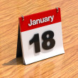 Stock Photo: Calendar on desk - January 18th
