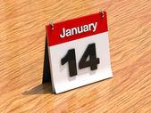 Calendar on desk - January 14th — Stock fotografie
