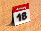 Calendar on desk - January 18th — Stock Photo