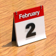 Calendar on desk - February 2nd — Stock fotografie